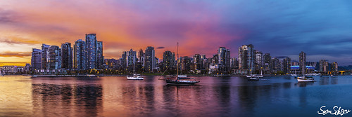 sunset vancouver fire cityscape harbour sean colourful schuster