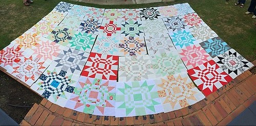 The forty (yes, 40!!) Red Letter Day blocks made in class today in my @thequiltersstore class. Amazing! Every one of them!! Thank you everyone who came. We felt so loved! @hollyinez #redletteraustralia #quiltabout