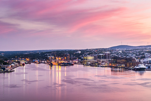 lighting city sunset summer canada reflection building skyline architecture port newfoundland boat nikon downtown ship cityscape waterfront cloudy harbour dusk stjohns vessel seaport goldenhour nfld atlanticcanada d600 stjohnsharbour newfoundlandandlabrador downtownstjohns nikond600