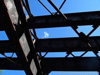 Looking up at the girders where the trains used to go over the Genesee River on the Leigh Valley Rail Trail, south of Rochester, New York