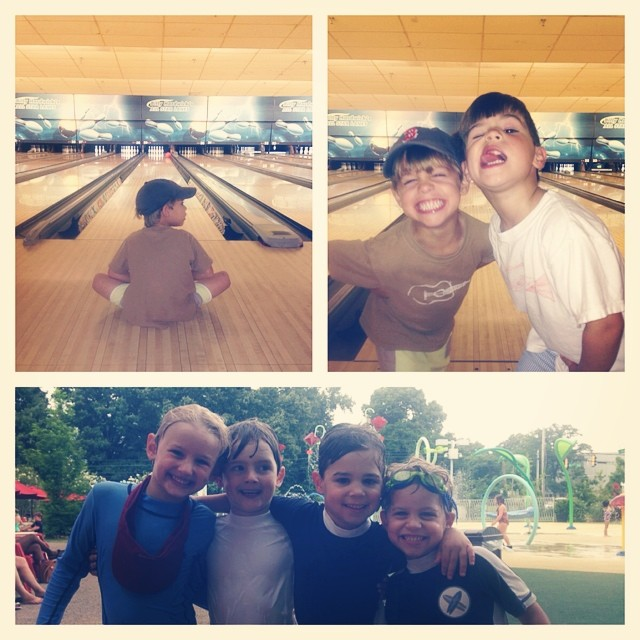 Monday funday with my boys while Maggie is at school. Bowling and splash park fun. @jenniebrooks23