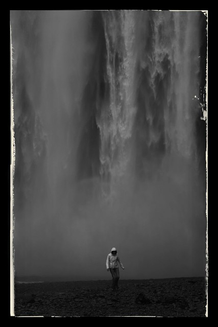 Waterfall and girl in white