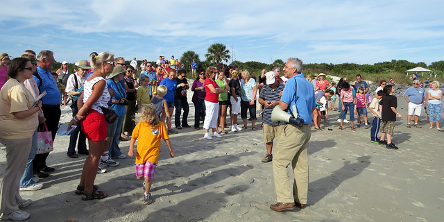 crowd gathered for bird release