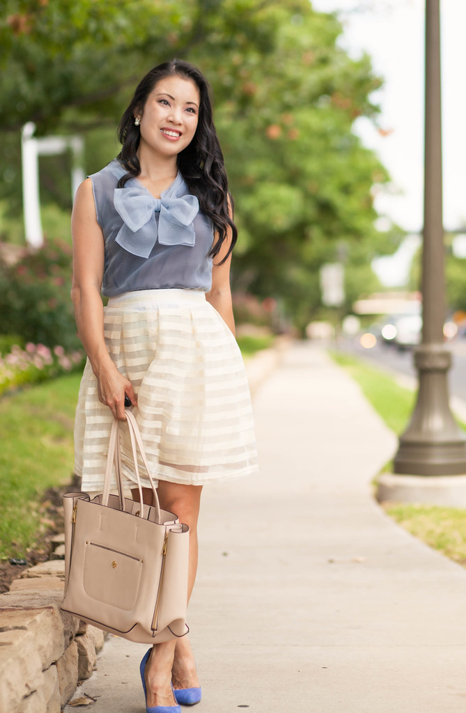 cute & little blog | petite fashion | grey bow organza top, white striped organza pleated skirt | summer outfit