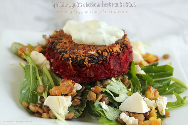 Spinach, Goat Cheese & Beetroot Stack 1