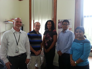 Left to right: Brian Sibilio, project director; Michael Copenhaver, principal investigator; Jennifer Boyd, research clinician; Roman Shrestha, doctoral student; and Rashmi Dahal, master.s student.