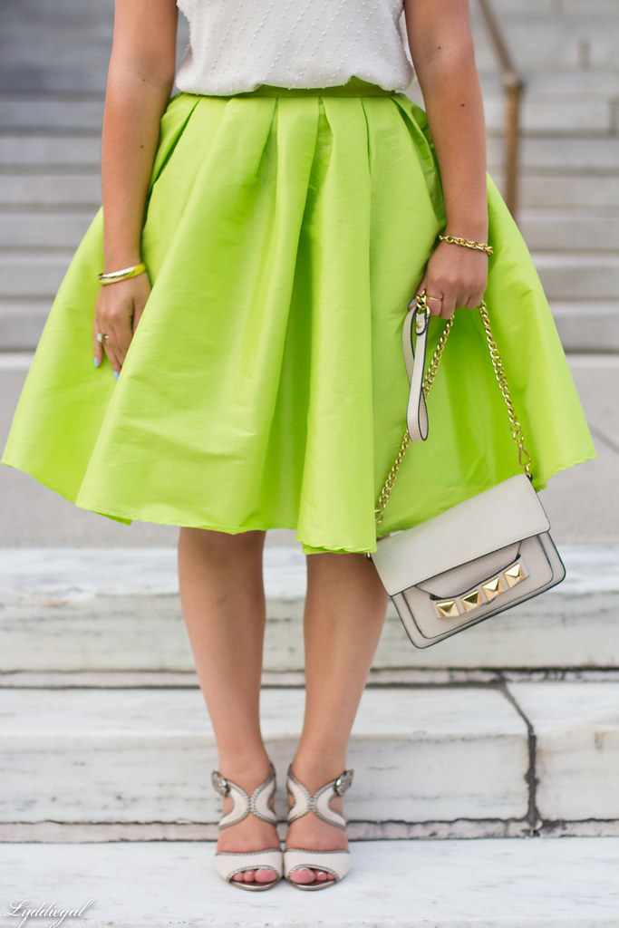 poofy neon green skirt, beaded silk top, grayson bag-6.jpg