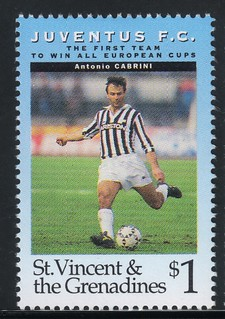 juventus the first team to win all europe cups stamp 2 - st. vincent & the grenadines