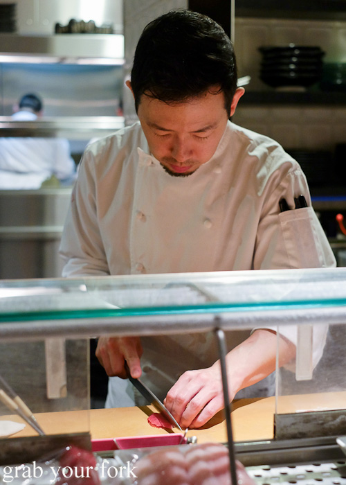 Chef Chase Kokima preparing sushi at Sokyo at The Star, Pyrmont