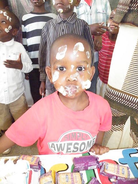 Omar enjoying cake