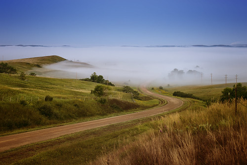 fog sunrise earlymorning prairie windingroad latesummer coulees highplains nikkor7020028 nikond4 northerngreatplains woodydraws