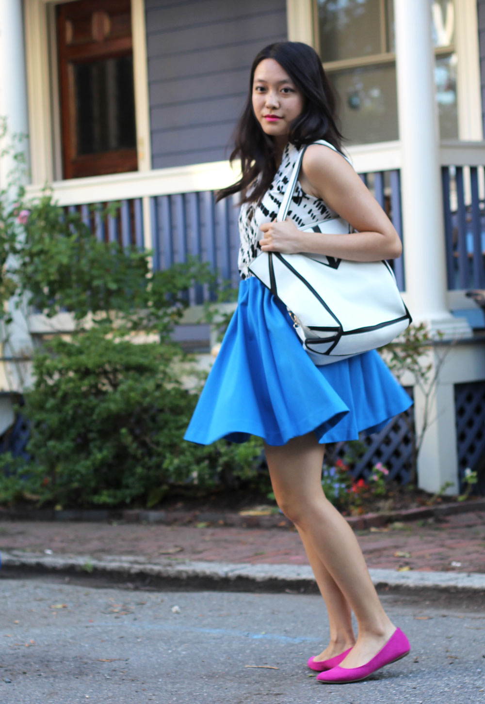 Bright blue H&M skirt and white jaguar print blouse || Another Beautiful Thing blog
