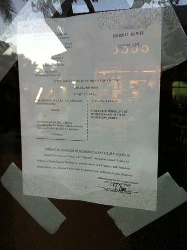 Fwd: Kai Sushi at Shops closed