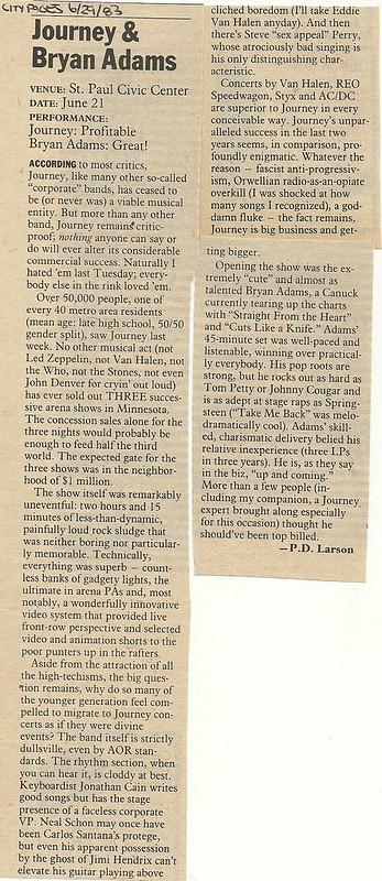 06/21/83 Journey/ Bryan Adams @ St. Paul Civic Center, St. Paul, MN
