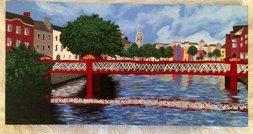 Original painting of cork city and at Vincent's bridge in cork city. Copyright 2012 Evin O'Keeffe