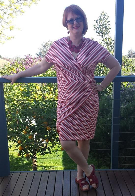 Style Arc Tia Knit Wrap Dress in fabric from Darn Cheap Fabrics