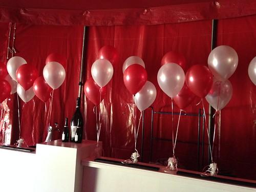 Tafeldecoratie 3ballonnen Rood Wit