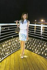 White sleeveless shirt and Floral tight miniskirt
