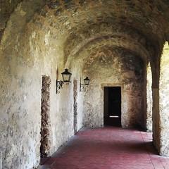 Quiet hallway of Mission Concepción