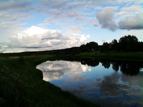blue summer beauty clouds river landscape russia