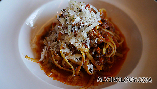Kid-sized serving of linguine bolognese, POA
