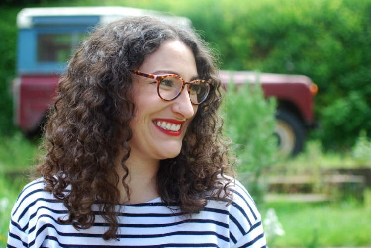 chambray and curls tortoiseshell glasses and red lip