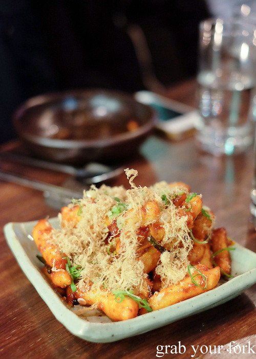 Dobbokki rice cakes with chilli sauce and pork floss at Kim Restaurant, Potts Point