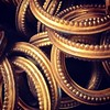 Bundle of antique curtain rings #french #brass #curtainrings #abstract #closeup