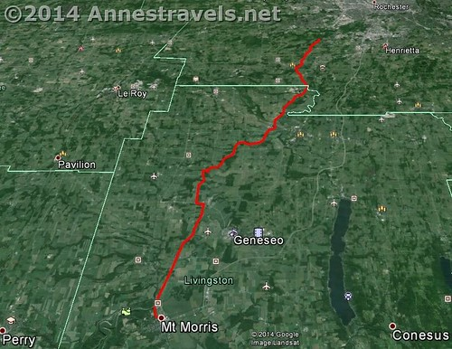 Visual map of the Genesee Valley Greenway from Mount Morris to the Brookdale Preserve, just south of Rochester, New York.