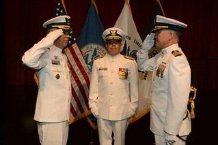 Capt. Martin L. Malloy relieved Capt. Byron L. Black as commander of Coast Guard Sector Upper Mississippi River in an official change of command ceremony in St. Louis, July 11, 2014. The change of command ceremony is a time-honored tradition and deeply rooted in Coast Guard and naval history. The event signifies a total transfer of responsibility, authority and accountability for the command. (Photo courtesy of Bill Coby)