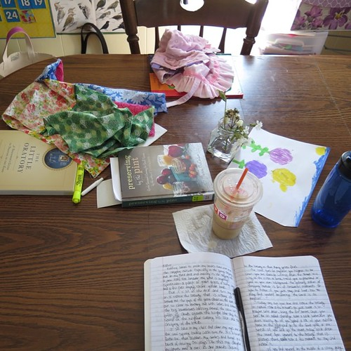 On the table. Some writing. Some reading. Some sewing. Can't seem to focus the afternoon!