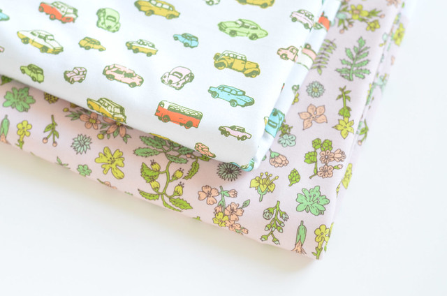 retro cars and floral fabric