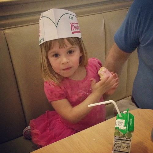 She insisted on a pink donut. To match her dress. And her manicure.