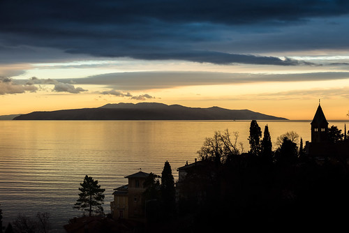 sunset sea sky cloud water skyline landscape seaside outdoor dusk croatia shore serene opatija