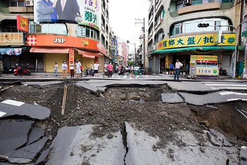 高雄市一心路氣爆現場,圖片引用自林清華。