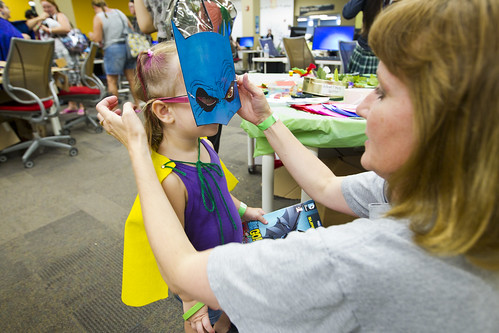 Getting a superhero mask at the cosplay corner at MegaMania!! 2014