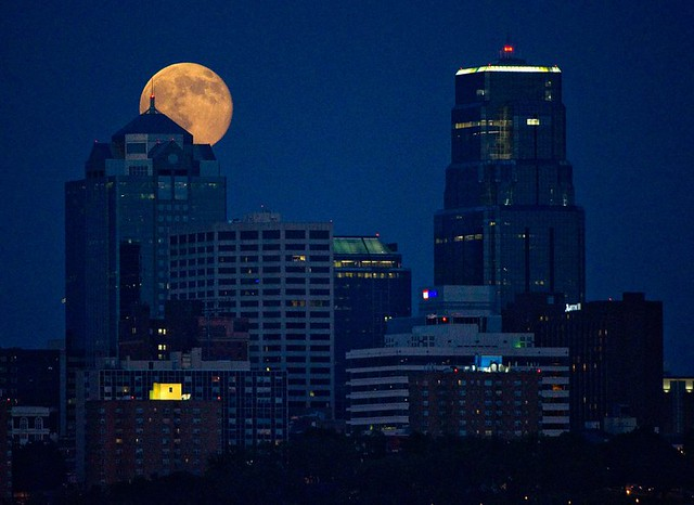 Supermoon rises over downtown Kansas City