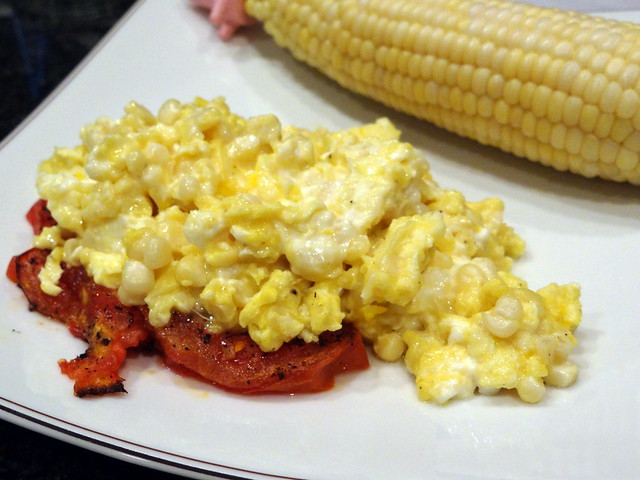 Scrambled Eggs with Corn, Goat Cheese and Tomato