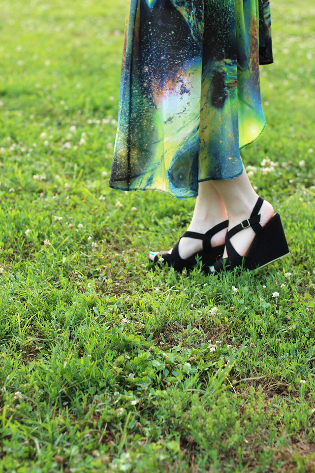 Galaxy Print Skirt and Black Wedge Sandals