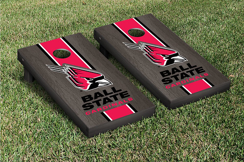 Ball State Cardinals Cornhole Bag Toss Game Set Onyx Stained Stripe
