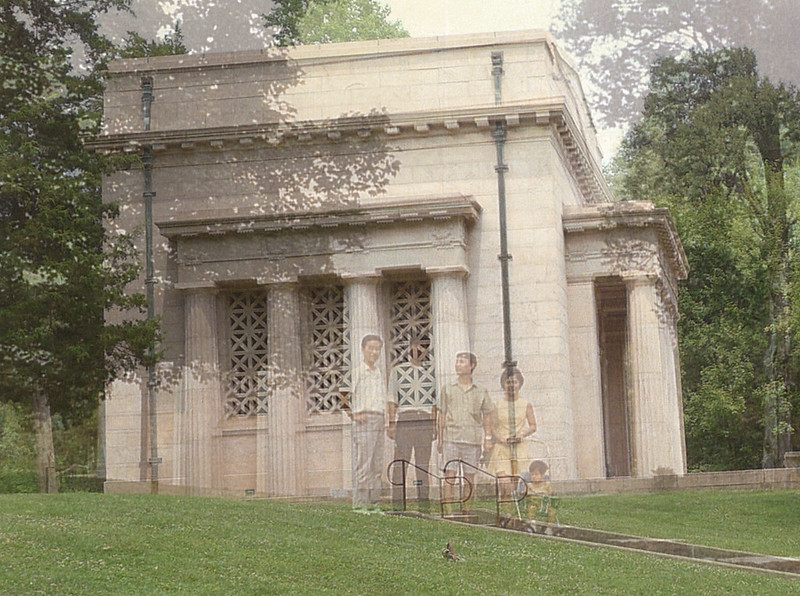 Composite of two shots taken of the left side of the Lincoln Birthplace Memorial, in 1970 and 2014