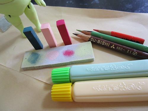 パステルと水彩絵の具と色鉛筆