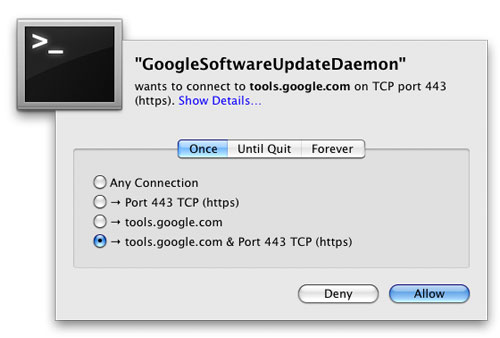 Google Software Update的请求被Little Snitch截获