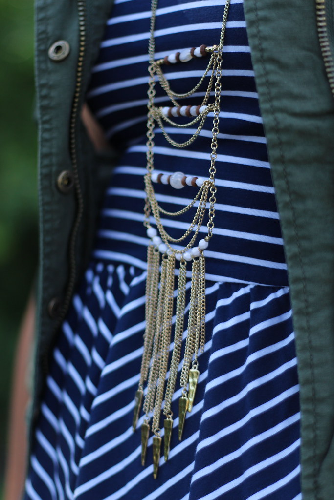 Army Vest | Striped Dress | Outfit #AERONOW | #LivingAfterMidnite