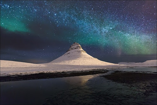Milky Way meets Northern Lights - Oliver Agit Photography www.oliver-agit.de #iceland #night #kirkjufell