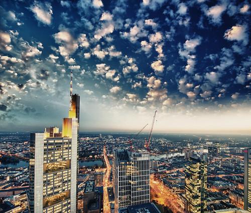 Wonderful modern city skyline against the sky at sunset