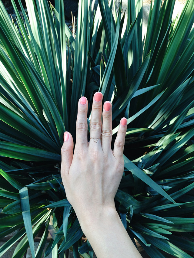 essie's tart deco, dainty gold triangle ring, fresh tangerine jewelry