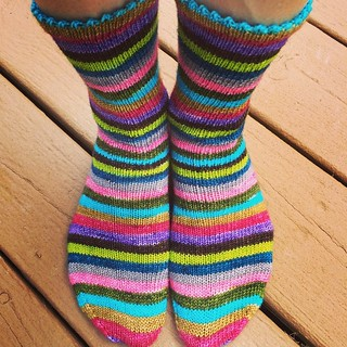 Socks! @yarntini Super Bugaloo Striping from @cseero