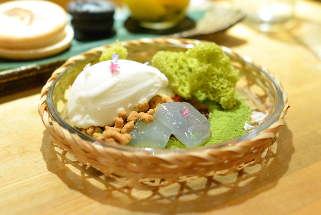Green Tea Cake ginger ice cream