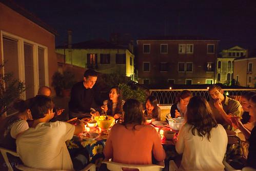 Students enjoy a dinner at Casa Artom, Venice